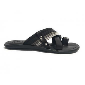 Men's Shoes Elite Slipper Finger Skin and Canvas Black Grey Us17el29