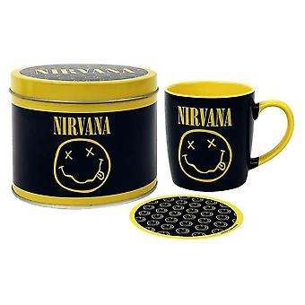 Nirvana Smiley Logo Mug and Coaster Set in Gift Tin