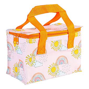 Insulated Lunch Bag Patterned Foil Lined Picnic Sandwich Box Rainbow
