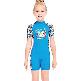 Kids wetsuit long sleeve one piece uv protection thermal swimsuit dfse-4