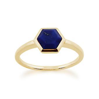 Gemondo 925 guld pläterad 1.10ct Lapis Lazuli sexhörnigt Prisma silverring