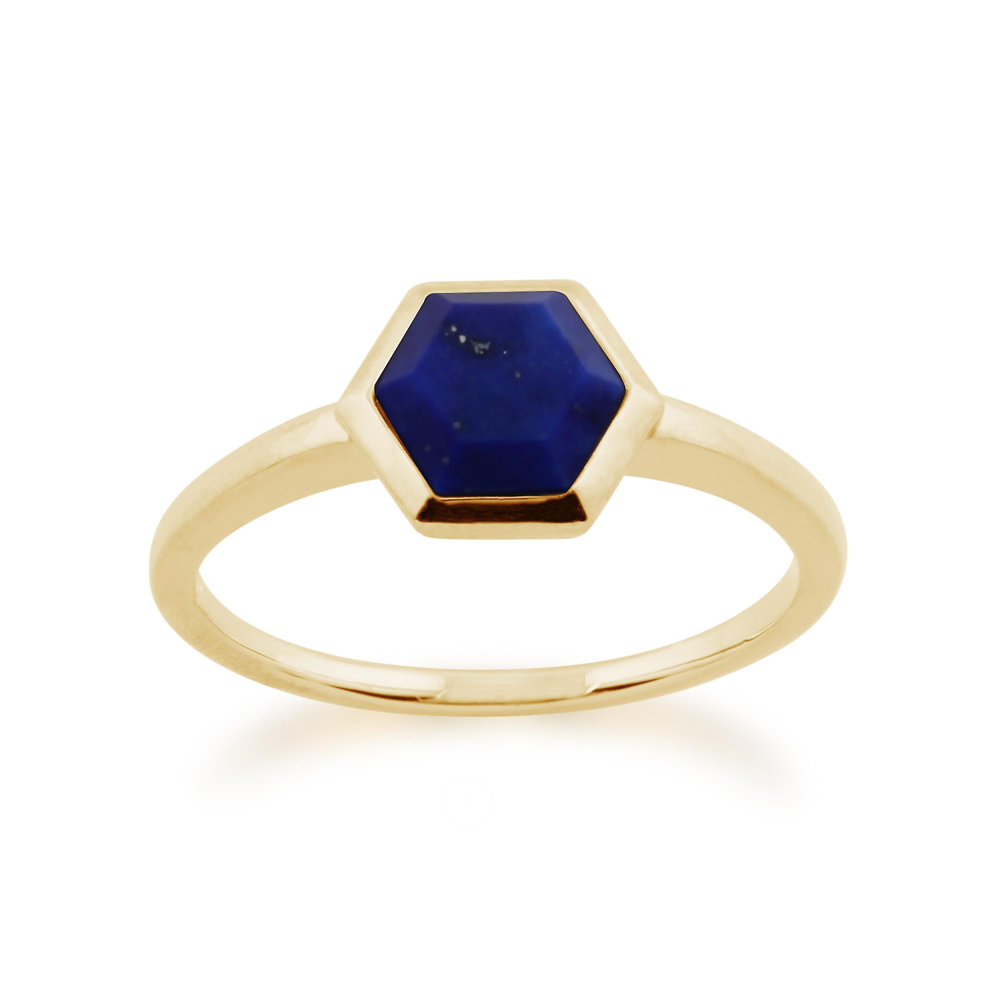 Gemondo 925 Gold Plated Sterling Silver 1.10ct Lapis Lazuli Hexagonal Prism Ring