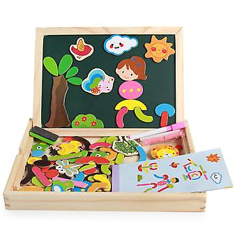 Wooden Educational Toys Double-sided Magnetic Animal Puzzle Board Early Education Game For Children Boys And Girls
