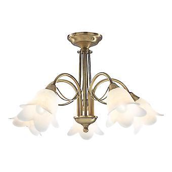 DAR DOUBLET Halb Flush Decke Licht Licht Antik Messing komplett mit Alabaster Glas, 5 x E14
