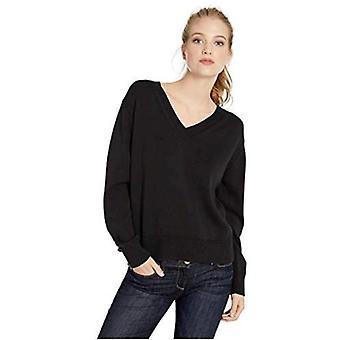 Marca - Daily Ritual Mujeres 100% algodón V-Cuello Jersey Jersey Jersey Jersey, Negro, Grande