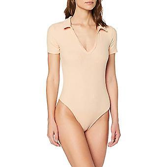 Miss Selfridge V-Neck Collar Bodysuit T-Shirt, Beige (Nude 030), 38 (Size Producer: 6) Woman