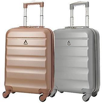 Aerolite (55x35x20cm) bagage à main léger en coque dure (or rose et ensemble argent)