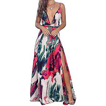 Women Sexy Ladies Deep V-Neck Floral Casual Beach Dress