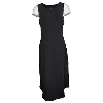 AnyBody Dress Knit Sleeveless Wrap Front Midi Black