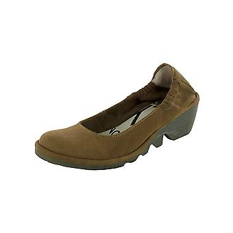 FLY London Womens Pled Slip On Wedge Shoes