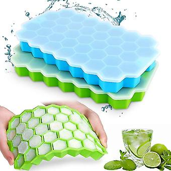 Green blue 2 pcs silicone ice cube tray 37 compartment ice cube mold with cover cai1462