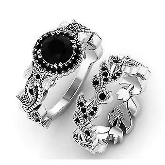 2 stuks / set new fashion zwarte kristallen ring voor vrouwen Valentine Gift (11)