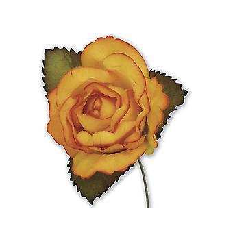 SISTE FÅ - 12 Gamle Gull 45mm Papir Rose Blomster