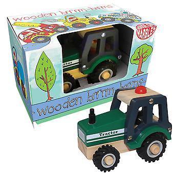 Tradicional empuje en caja a lo largo de tractor de madera para los niños