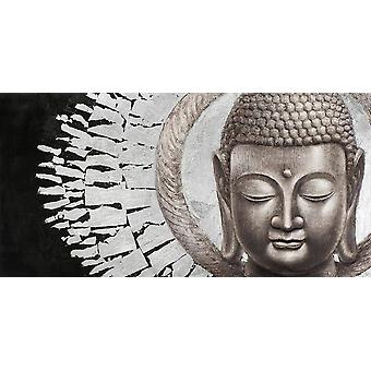 Fin AsiatiskLiving Maleri Buddha Ansikt Svart Bakgrunn Landskap MetallFolie 3D