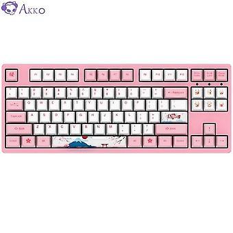 Qwert Tokyo Sakura Wired Mechanical Gaming Keyboard 87 Keys PBT Computer Gamer Type C