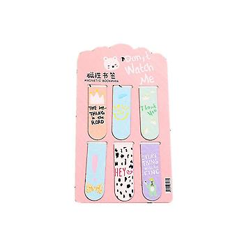 6pcs /Set Kawaii Oreo Cat Cactus Magnetic Bookmarks Books Marker of Page Stationery School Office