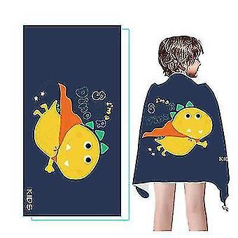 Nouveau dessin animé Séchage rapide Absorbant Serviette de plage pour enfants Velours à double face (Dinasour)
