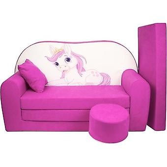 Kinder slaapbank set - logeermatras - sofa - 170 x 100 x 8 - slaapbank - roze - paard