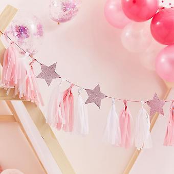 Pink Tassel Garland With Pink Glitter Stars 2m Pamper Party