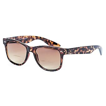 Classic Style Bifocal Reading Sunglasses for Men and Women - Hard Case Included - Tortoise - 4.00