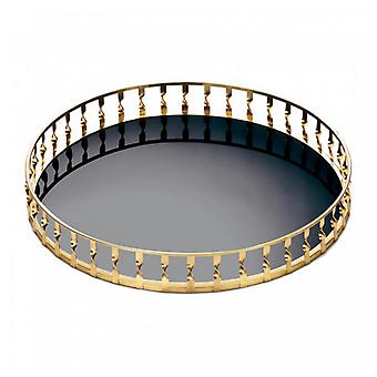 Accent Plus Gold Twist 15-inch Metal Mirror Tray, Pack of 1
