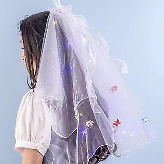 Flashing veil with led lights pearl bow long lace veil headwear flower decor bridal headpiece lovely photo props