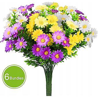 Sztuczne kwiaty stokrotki, używane do naśladowania bezbarwnych plastikowych kwiatów w stylu wiejskim, używane do dekoracji stołu, okna, balkonu