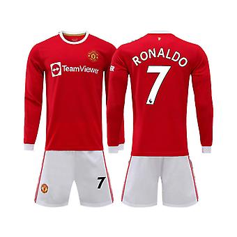 Manchester United Home Jersey No. 7 Ronaldo Long Sleeve Football Jersey Adult Suit