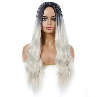 Long Wavy Wig Ombre Silver Wigs For Women Synthetic Curly Hair