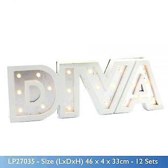 WALL HANGING LIGHT UP DIVA SIGN WHITE LED DISPLAY DECORATION SIGNBOARD