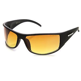 Large Rectangular HD Driving Lens Sports Wrap Sunglasses