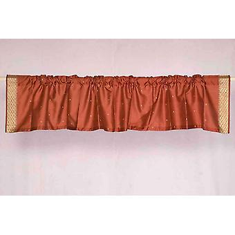 Rust - Rod Pocket Top It Off handmade Sari Valance - Pair