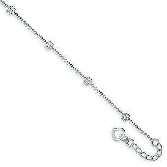 925 sterling sølv poleret blomst og Ankelkæde-2,5 gram-10 tommer-fjeder ring