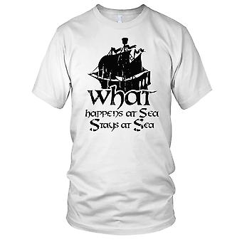 What Happens At Sea Fisherman Angler Ladies T Shirt