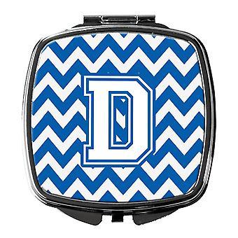 Carolines schatten CJ1045-DSCM Letter D Chevron blauw en wit Compact spiegel