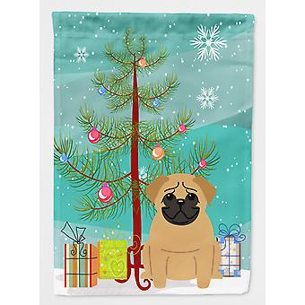 Merry Christmas Tree Pug Brown Flag Canvas House Size