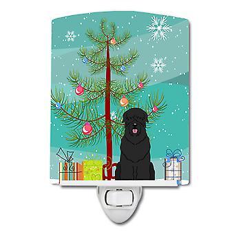 ضوء الليل السيراميك الأسود الكلب الروسي شجرة عيد ميلاد سعيد