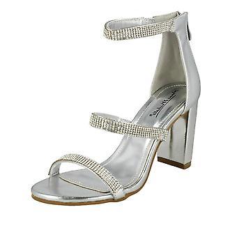 Ladies Anne Michelle Diamanate Strappy Sandals - Black Textile - UK Size 6 - EU Size 39 - US Size 8