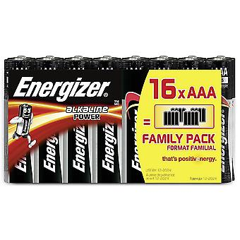 16 pilas Energizer AAA alcalina potencia LR03
