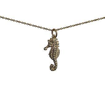 תליון זהב 24x11mm ברמודה סוסון ים עם שרשרת כבל 20 אינצ'ים