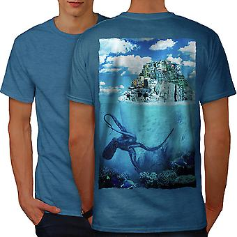 Octopus Island City Men Royal BlueT-shirt Back | Wellcoda