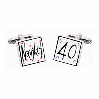 Naughty 40 Cufflinks by Sonia Spencer, in Presentation Gift Box. Hand painted