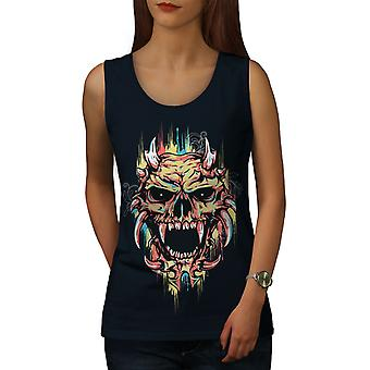 Satan Devil Scary Skull Women NavyTank Top | Wellcoda