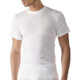 Mey 49003-101 mannen Casual katoenen witte effen kleur korte mouwen Top
