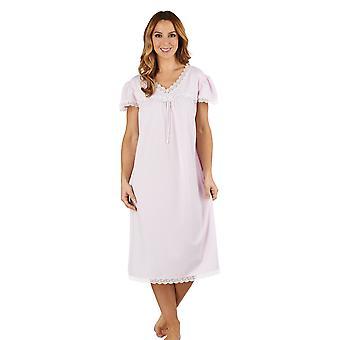 Slenderella ND1115 kobiet żakardowe noc różowy suknia Gama Piżam ograniczona rękaw Koszula nocna