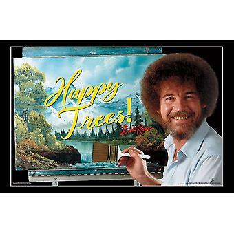 Bob Ross - glückliche Bäume Poster drucken