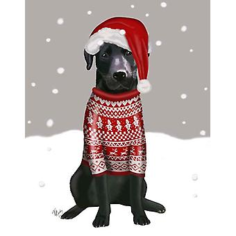 Black Labrador Christmas Sweater 1 Poster Print by Fab Funky (13 x 19)