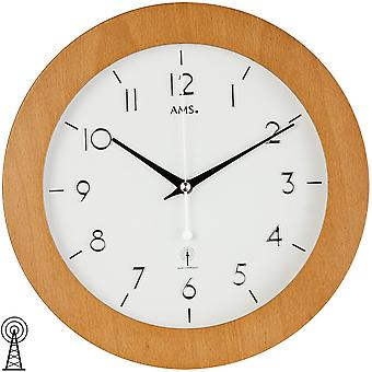 Clock, wall clock, radio clock, radio controlled wall clock beech / glass 29 cm