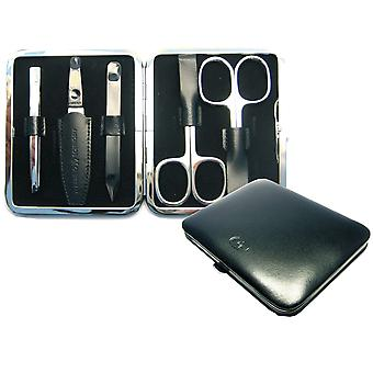 Arrow ring manicure case manicure set manicure cowhide leather black 5-piece Assembly